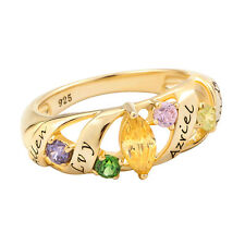 Mothers Mom Personalized 14K Gold P Birthstone Ava Family Ring(4 Name & 5 Stone)