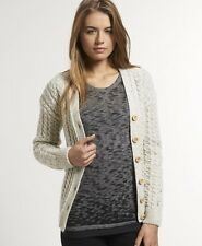 New Womens Superdry Abbey Cardigan Cream Nep W1