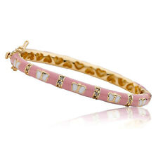 Little Miss Twin Stars 14k Goldplated Pink Cubic Zirconia Butterfly Bangle