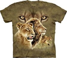THE MOUNTAIN FIND 10 LIONS ON THIS SHIRT BIG FACE COOL ZOO TSHIRT