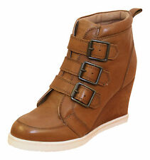 Next Ladies Tan Brown Real Leather Wedge Mid High Heel Ankle Boots New Shoes