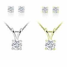 10k Gold 1ct TDW Round Diamond Solitaire Stud Earrings and Necklace Set (I-J, I2