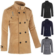 Thick Fashion Wool Coat Double Breasted Peacoat Long Men Jacket Winter Dress Top
