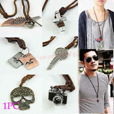 Adjustable Vintage Assorted Pattern Leather Strap Necklace Pendant Sweater Chain