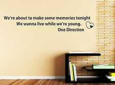 Live While We're Young One Direction Wall Quote, Wall Sticker Art Decal DIY c55
