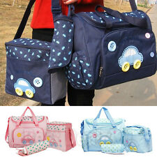 4pcs Car With Button Embroidery Baby Nappy Diaper Changing Bags Lunch Box Mat