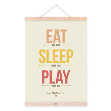 Mild Art Eat Sleep Play Kids Posters Inspirational Wall Quotes Canvas Paintings