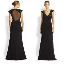 BADGLEY MISCHKA $539 Black Sequin Illusion Gown Sz 10 NEW