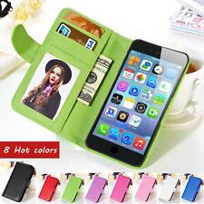 Leather Flip Picture IC Credit Card Slot Skin Case Cover For iPhone 5 5s 5C 4 4s