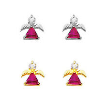14k Yellow or White Gold CZ Angel Red Ruby & White CZ Stud Earrings