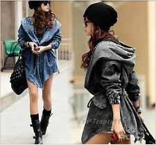 Fashion Lady Denim Trench Coat Hoodie Hooded Outerwear Jean Jacket Free Size
