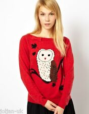 NEW LADIES YUMI RED KNIT OWL PRINT JUMPER SIZE 10 BNWT