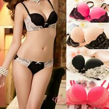 New Womens Lady Cute Sexy Underwear Satin Lace Embroidery Bra Sets