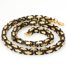 """Hot Fashion Mens Stainless Steel Byzantine Chain Necklace Black&Gold 8""""~36"""" 8MM"""