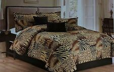 7PC Multi Animal Print Microfur Comforter Set, Twin, Queen, King & Cal King Size