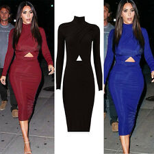 Celebrity Long Sleeve Sexy Bandage Bodycon Party Cocktail Pencil Club Midi Dress