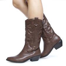 Rodeo Sexy Intricate Stitching Cowgirl Cowboy Western Mid-Calf Slip-in Boots