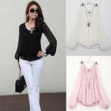 Fashion Ladies Women's Chiffon Tops Long Lantern Sleeve Shirt Casual Blouse_US