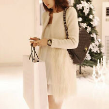 Charmant femme manteaux Chaud en cuir Lady Faux fur stitching Woolen Coat jacket
