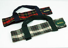 ACCLAIM Arran Two Bowl Carrier Green Cream Or Red Navy Tartan With Handles