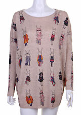 Ladies Women Casual Bunny Printed Oversize Jumper Long Sleeve Loose Fit Top