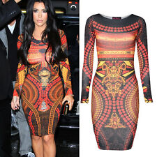 Celebrity Womens Lady Long Sleeve Bodycon Cocktail Party Tunic Pencil Midi Dress