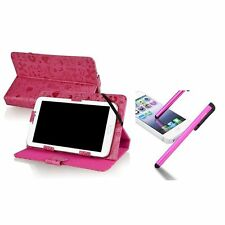 "New 7 inch PU Leather Case with Invisible Magnetic Button Pink+Pen for 7"" Tablet"