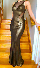 NEW Faviana 7182 evening PROM Dress Gown Gold Foil Jersey Sizes 0-14