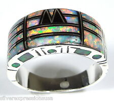 White Fire Opal & Black Onyx Inlay 925 Sterling Silver Men's Ring size 9 - 13