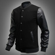 PROMOTION~XMAS WINTER Mens Slim Fit Varsity Letterman LEATHER Sleeve JACKET Coat