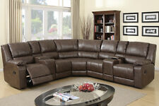 Leather sofa couch with console recliner sectional sofa for entertaining family