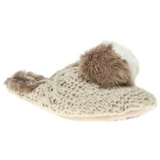 New Womens Ruby And Ed Natural Pom Knit Mule Wool Slippers Slip On