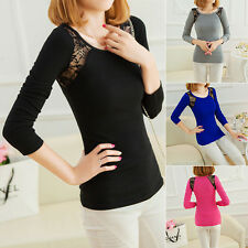 Fashion Women Lace Stitching Cotton T-Shirt Round Neck Solid Base Tops Blouse