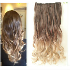 """20"""" 22"""" Clip in Hair Extensions Ombre Dip Dye Full Head Wavy Curly Straight"""
