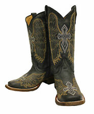 Corral Boots Kid's Gold Black Wing and Cross Square Toe -A1032 - New