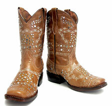 Kids Girls Genuine Leather Cowboy Western Studded Rodeo Beige Boots
