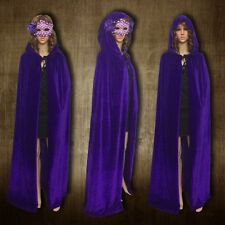 Hooded Velvet Cloak Wicca Robe Medieval Witchcraft Cape Shawl Halloween Party224