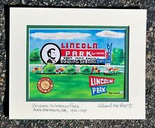 LINCOLN PARK ROADSIGN SIGN ART Amusement Park Roller Coaster Carousel Carnival