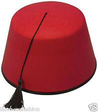 Adult Red Fez Moroccan Turkish Hat Tommy Cooper Costume Fancy Dress Up