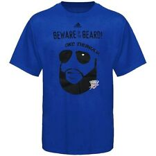 "Oklahoma City Thunder ADIDAS ""Beware of the Beard"" Logo (Blue) T Shirt Men's"