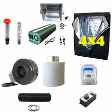 "Complete Kit 600 1000w Ballast Cool Hood 2pc Bulb 6"" Fan Filter Ducting 4x4 Tent"