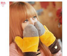 New Popular Female Rainbow Winter Mittens Plush Warm Candy Colored Women Gloves