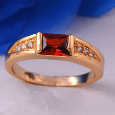 Delicate 14K Gold Filled Garnet Gemstone Size 7 8 9 Ring Womens Ladies Jewelry