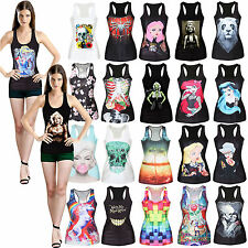 Womens Summer Print Tank Punk Tops Vest Blouse Beach Shirt Vests Skater Top New