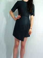 ♥New TOPSHOP Black Genuine Leather Wrap Shift Dress Size 6 8 10 12 14 RRP £175♥
