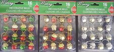 "Christmas JINGLE BELL GARLAND 16 1"" Bells 28"" String SELECT: Red Green Gold Bell"