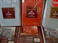Raymond Waites Bedskirt Luxe Pleated Brown Blue or Paprika Red King Comp $69.