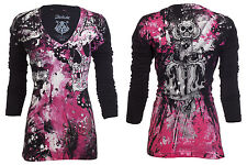 Archaic AFFLICTION Womens LS T-Shirt HYDRATE Skulls Tattoo Biker Sinful M-XL $58