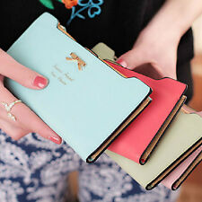 Newest Candy Color Women Soft Leather Bowknot Clutch Wallet Long PU Card Purse