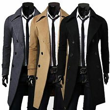 Mens Fashion Trench Coat Winter Long Jackets Double Breasted Peacoat Blazer Suit